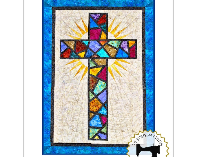 """Stained Glass Cross / Christian Cross / Cross Quilt Pattern - size: 36"""" x 51"""" , PDF Download"""
