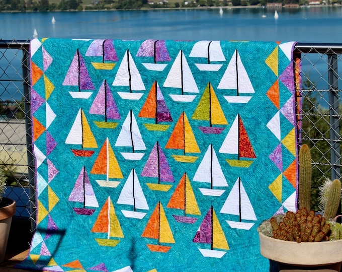 "Quilt Pattern / Scrap happy Sailboats - 65"" x 85"""