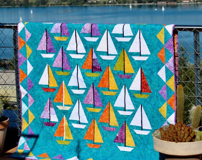 "Quilt Pattern / Scrap happy Sailboats - 60"" x 80"" - PDF download"
