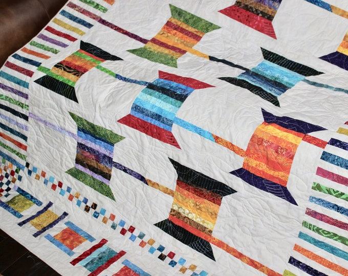 Scrappy Spools and Bobbins - Scrap Quilt - Full size: 65 x 93