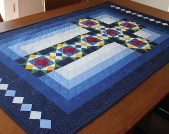 """Cross Quilt Pattern - Cross in Window - Stained Glass Cross - Wall Hanging: 30""""x50"""" , PRINTED"""