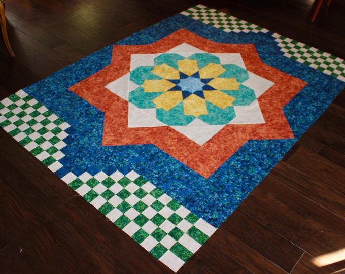 Moroccan Mosaic - quilt pattern - size: 56 x 78 - PDF pattern