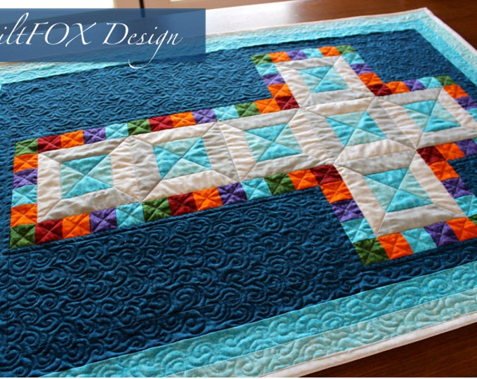 Cross Quilt Pattern - Jewel Cross - Religious quilt - Christening quilt - Multiple Sizes