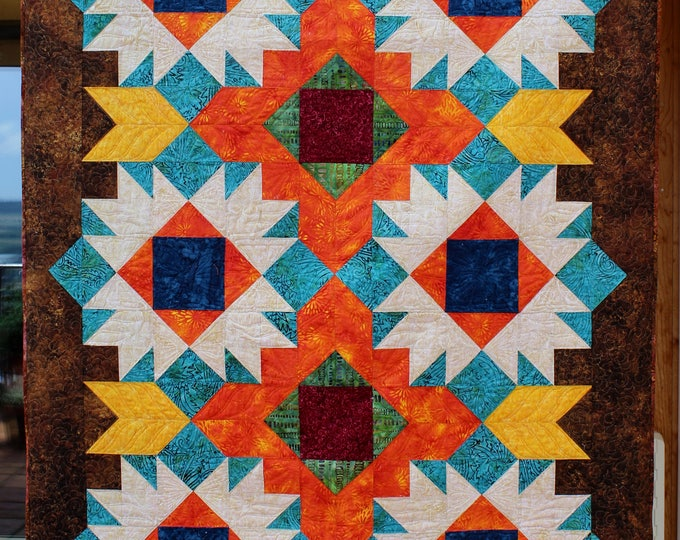 Wicked Bear - Southwest quilt - Native American quilt - American Indian - size: 53inches x 78 inches
