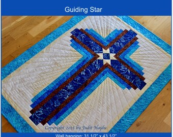 Log Cabin Cross - Guiding Star - wall hanging: 31 in. x 43 in.- PDF Download
