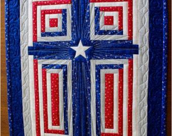 Cross Quilt Pattern - Patriotic Cross / Log cabin cross / God Bless America - Multiple Sizes