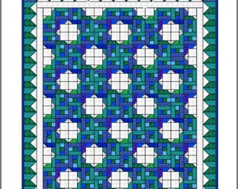 "Quilt Pattern - Moroccan Tiles - Queen Size: 92"" x 116"""