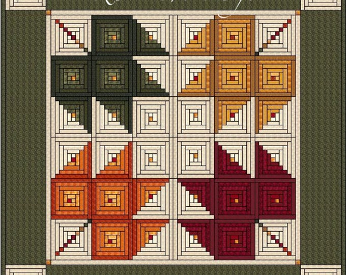 Log Cabin Quilt Pattern - Log Cabin Maple Leaves - King size