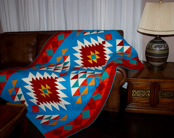 Southwest Quilt Pattern - Navajo Inspired / Indian / Native American quilt - Throw - finished size: 56'x 78' , PRINTED