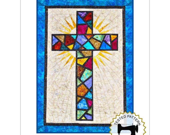 """Stained Glass Cross / Christian Cross / Cross Quilt Pattern - size: 36"""" x 51"""" , PRINTED"""