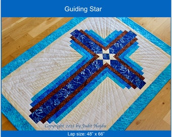 Log Cabin Cross - Guiding Star - wall hanging cross - lap size 48 in. x 66 in.