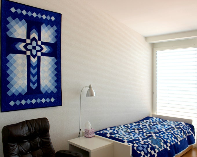 "Cross Quilt Pattern - Christian Cross / Chevron Cross / Blue Cross - Wall Hanging: 32"" x 52"""