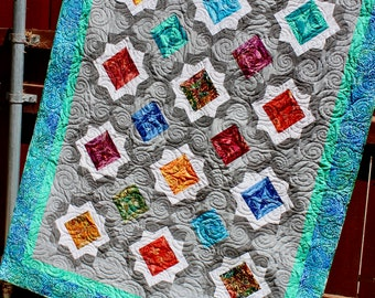 Birthstones - PDF quilt pattern - size: 60 in. x 92 in.