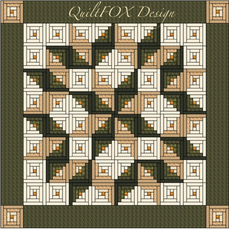Log Cabin Quilt Pattern  Log Cabin Carpenter Star  King image 0