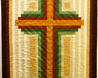 Log Cabin Christian Cross - Cross quilt - wall hanging - multiple sizes - PDF Download
