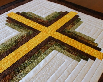 "Cross Quilt pattern , Log Cabin Christian Cross , Twin size: 66"" x 90"" , PDF Download"