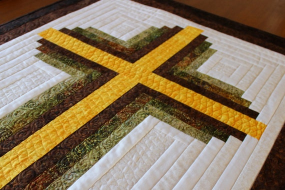 Cross Quilt Pattern Log Cabin Christian Cross Twin Size Etsy