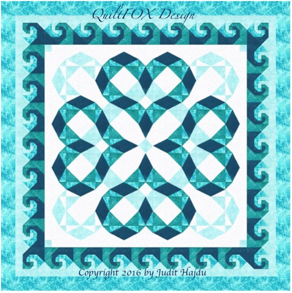 Quilt Pattern Storm At Sea Variation Heartwaves In Aqua Etsy Adorable Storm At Sea Quilt Pattern