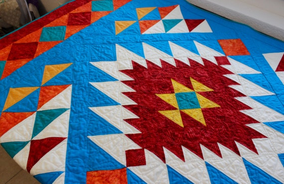 Southwest Quilt Pattern Navajo Inspired Indian Native Etsy Magnificent Native American Quilt Patterns