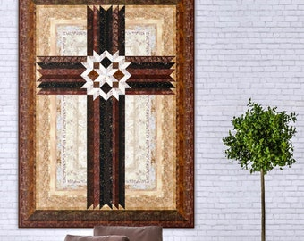 "Cross Quilt Pattern - Carpenters Star Christian Cross - 42"" x 57"" , PDF Download"