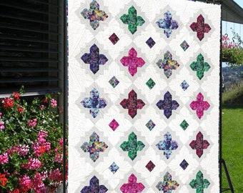 Quilt Pattern - Gemstones -  Sizes: King 107 x 107, Full 90 x 107, Twin 73 x 90, Throw 56 x 73