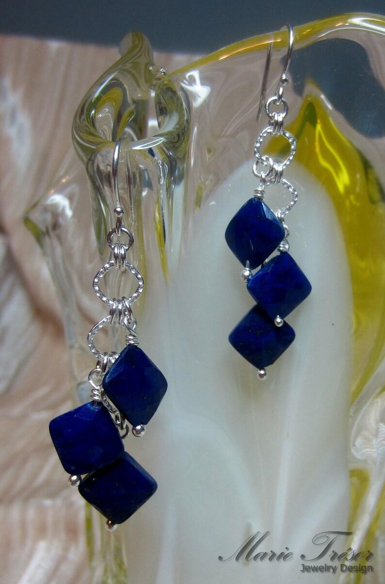 Diamond shape faceted Lapis Lazuli earrings
