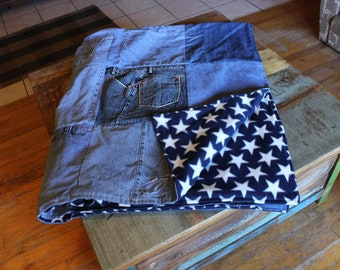 Denim Blue Jean Quilt Full Size Upcycled Blue Jean Blanket, Birthday Gifts, Teenager Gifts, Country Gifts, Gift for Him, gift for her