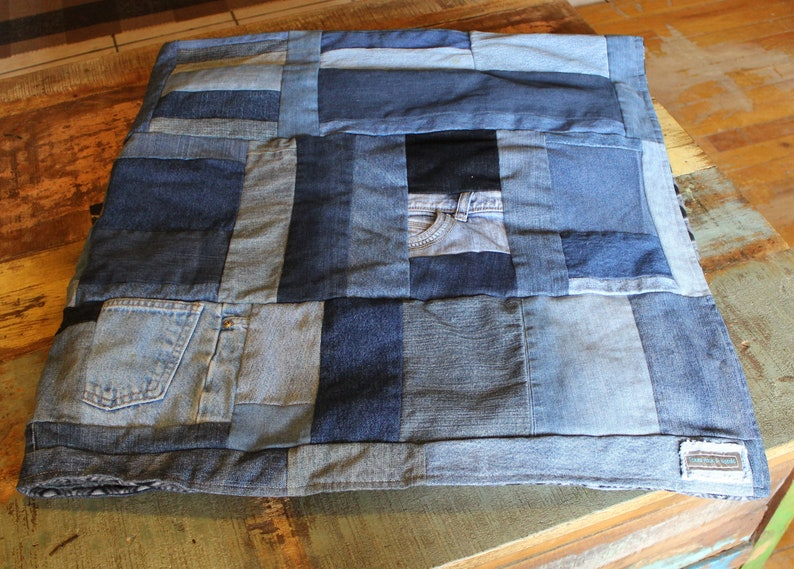 Country Gifts Birthday Gifts Denim Blue Jean Quilt  Twin Size Upcycled Blue Jean Blanket Gifts for Him Teenager Gifts Gifts for Her