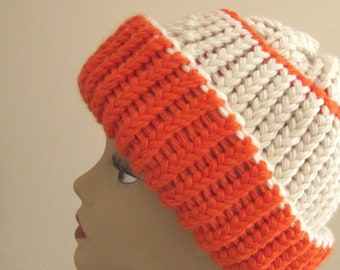 f07587a7 Blaze orange and white Toque Hat, Teams Hat, Ski hat, Winter REVERSIBLE  Unisex hat. Fun Ultrawarm Winter hat. Ready made, ready to ship