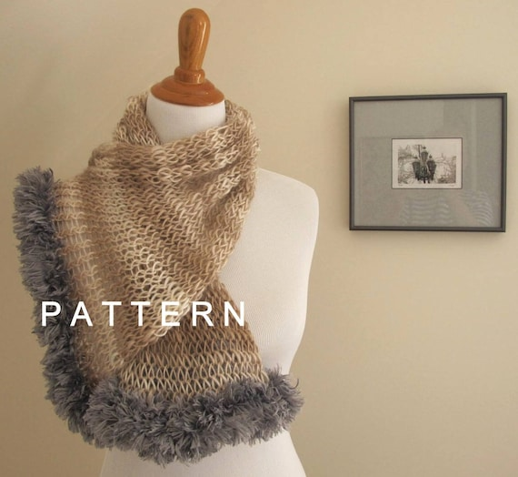 Pattern Fluffy Edge Loom Knit Scarf Tutorial Pattern Only Etsy