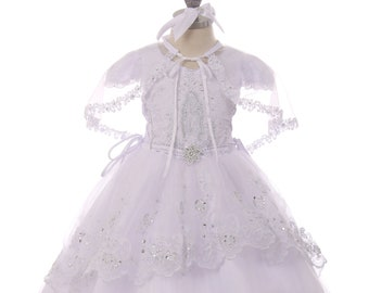 02d2dbee357 Baptism Dress with Cap Sleeves and Virgin Mary Embroidered on Blouse