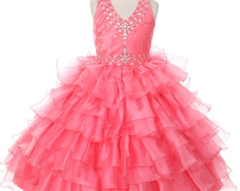 fbe92d4e6 Girls Halter Neck Top Pageant Dress, pageant, dresses, tulle dresses,  rhinestone decorated, coat, flower girl dress, special occasion dress