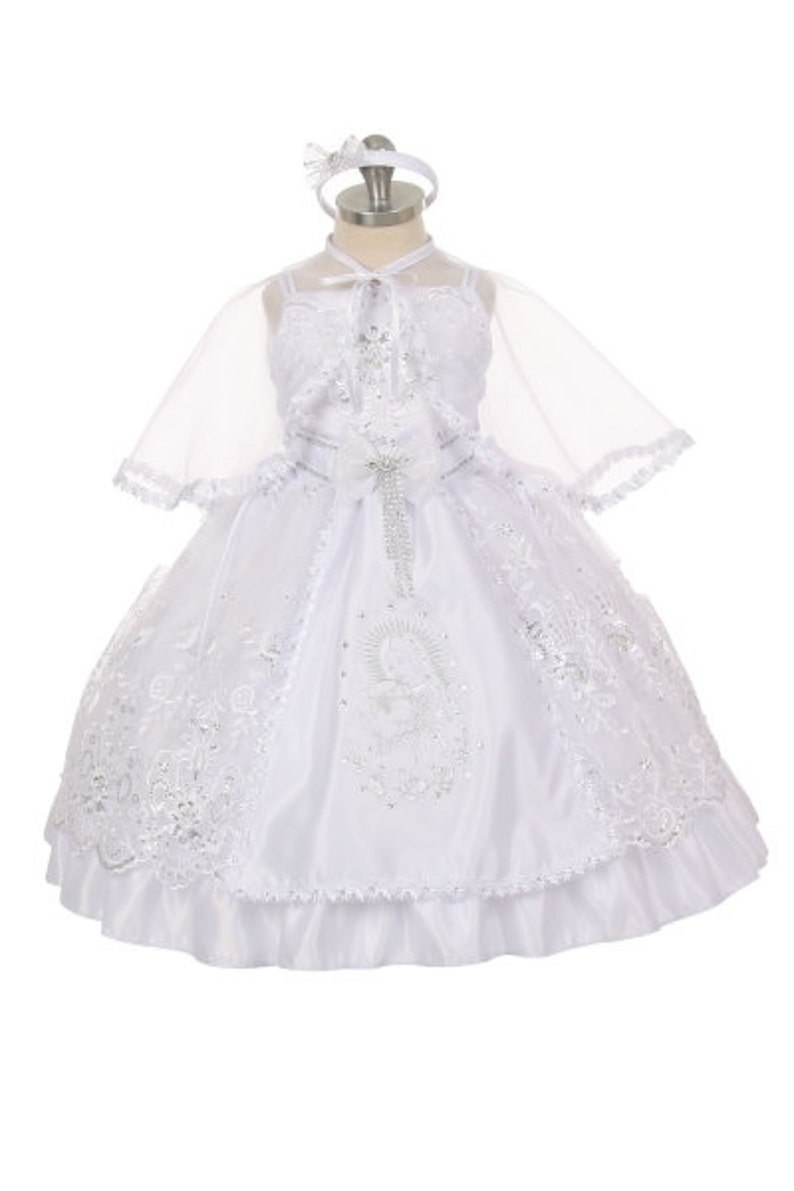 37e741d5013 White Girl Baptism Dress with Virgin Mary and Pope embroidery