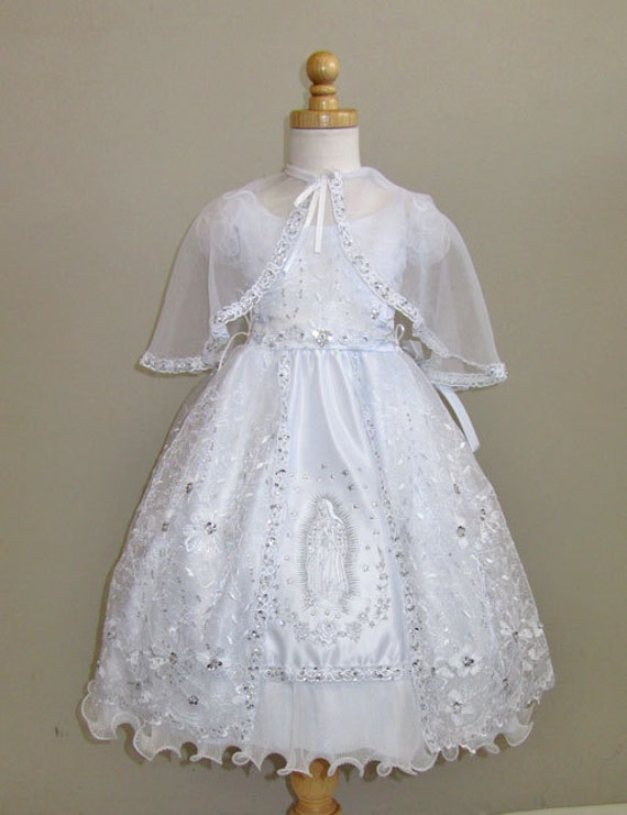 Baptism Dress With Mary Embroidery Embroidered Dress White