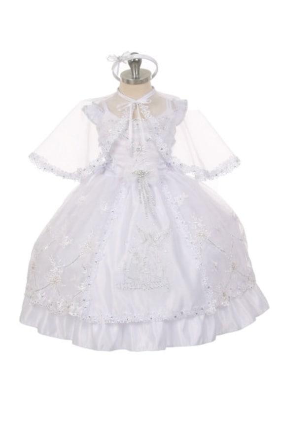 Baby Girls White Dress Baptism Christening Guardian Angel Bautizo Cape Bonnet