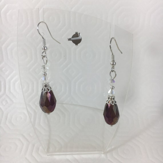 Teardrop Dangle Earrings with Hematite and Crackled Glass Crystal