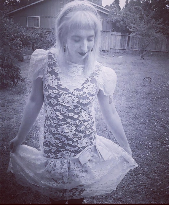 White Lace 80s Dress