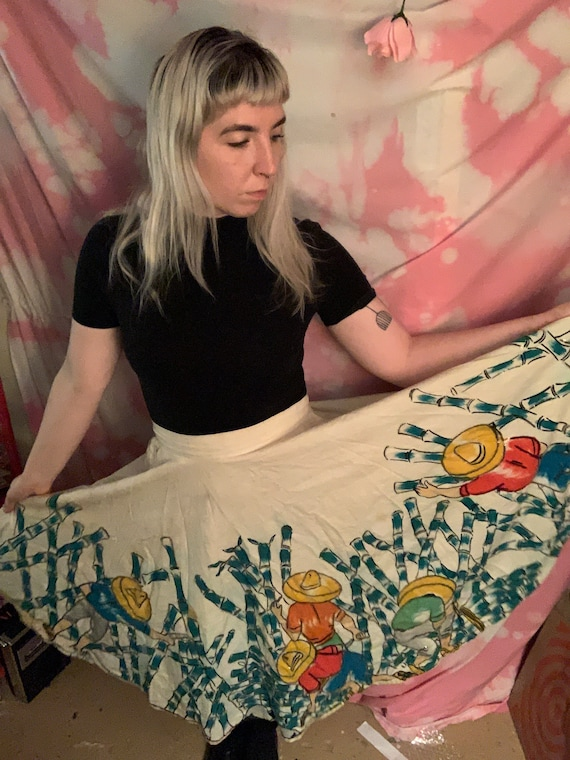 Hand Painted Mexican Circle Skirt