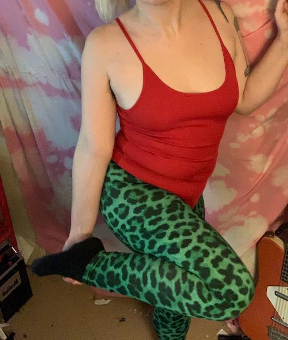 Green Animal Print Leggings