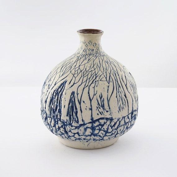 Midcentury Mishima Vase Aritisan Vase Hand Painted Vase Etsy