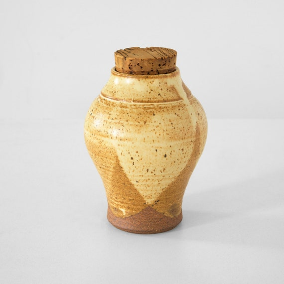 vintage stoneware container with cork stopper, stoneware jar, vintage  stoneware, mid century stoneware spice container, stoneware jar