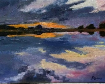 Sunset Landscape painting Original oil painting on canvas Palette knife Impressionist art Home gallery Modern art Father gift wall decor