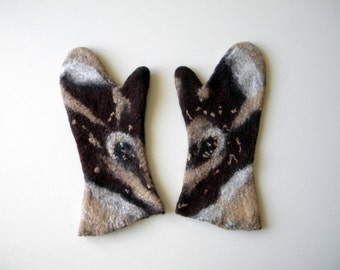 Brown felted mittens Felted gloves arm warmers women mittens unusual mittens winter accessories gift for her Gifts under 50 best friend gift