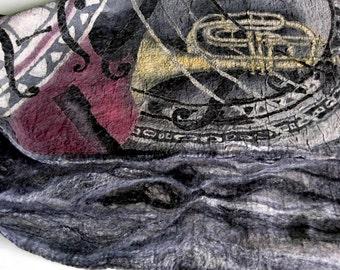 Jazz scarf Musical instrument Wool felted scarf Best friend gift Handpainted silk Warm scarf Original silk painting Xmas gift