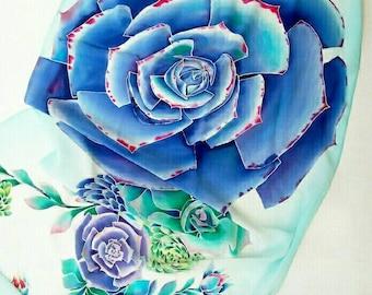 Wedding shawl Hand Painted shawl succulent lovers gift Large Silk shawl Bridesmaid gift Something Blue Summer Wrap Flowers festival shawl