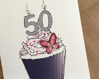 50th CUPCAKE Birthday Card