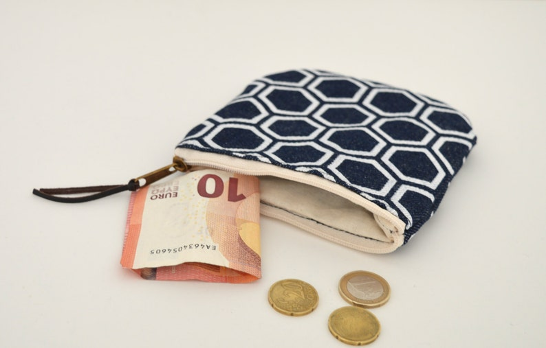 japanese pattern print Mini zipper pouch Denim small pouch Canvas coin purse indigo pouch