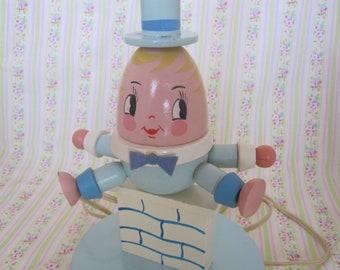 Vintage Wooden Humpty Dumpty Nursery lamp
