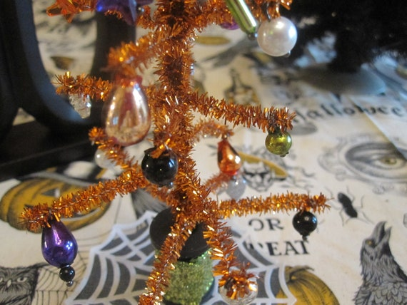 Miniature Orange Tinsel Halloween Feather Tree