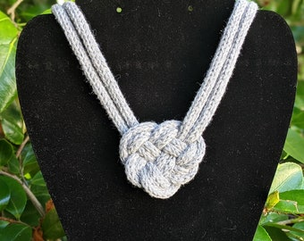 Celtic Heart Knot Necklace, Recycled Cotton and Ocean Plastic, Adjustable Length, Knit Rope Statement Jewelry - Ready to Ship
